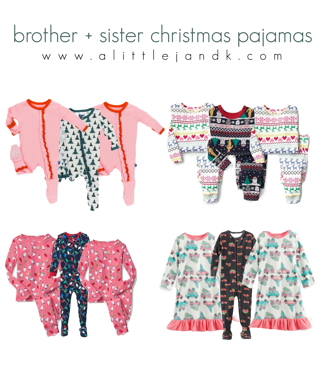 a little j+k: coordinating brother + sister Christmas pajamas