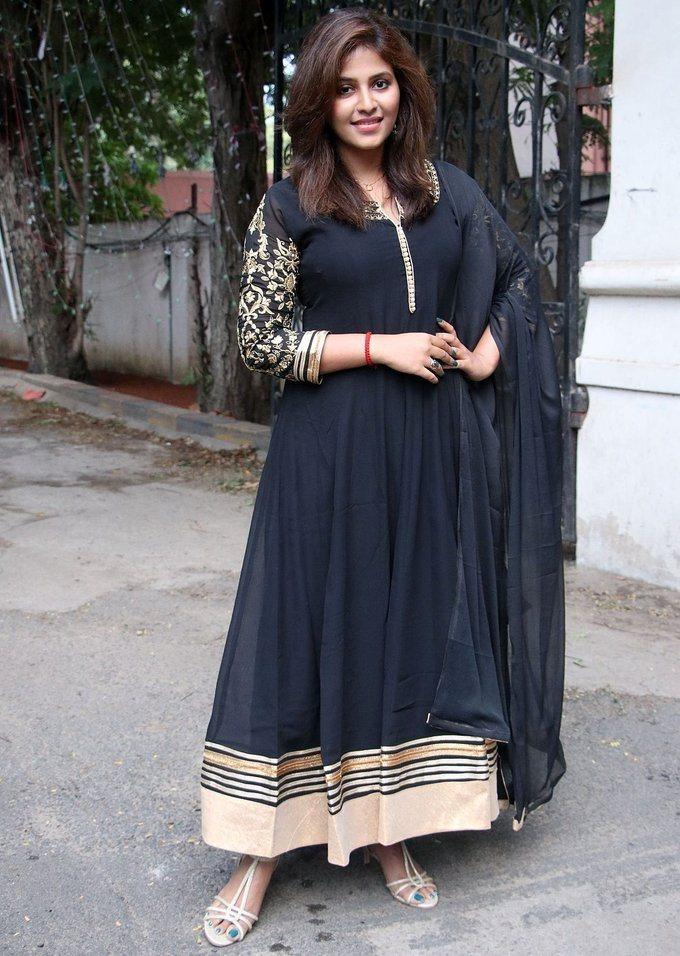 Anjali At            Taramani Thanks Giving Meet In Black Dress