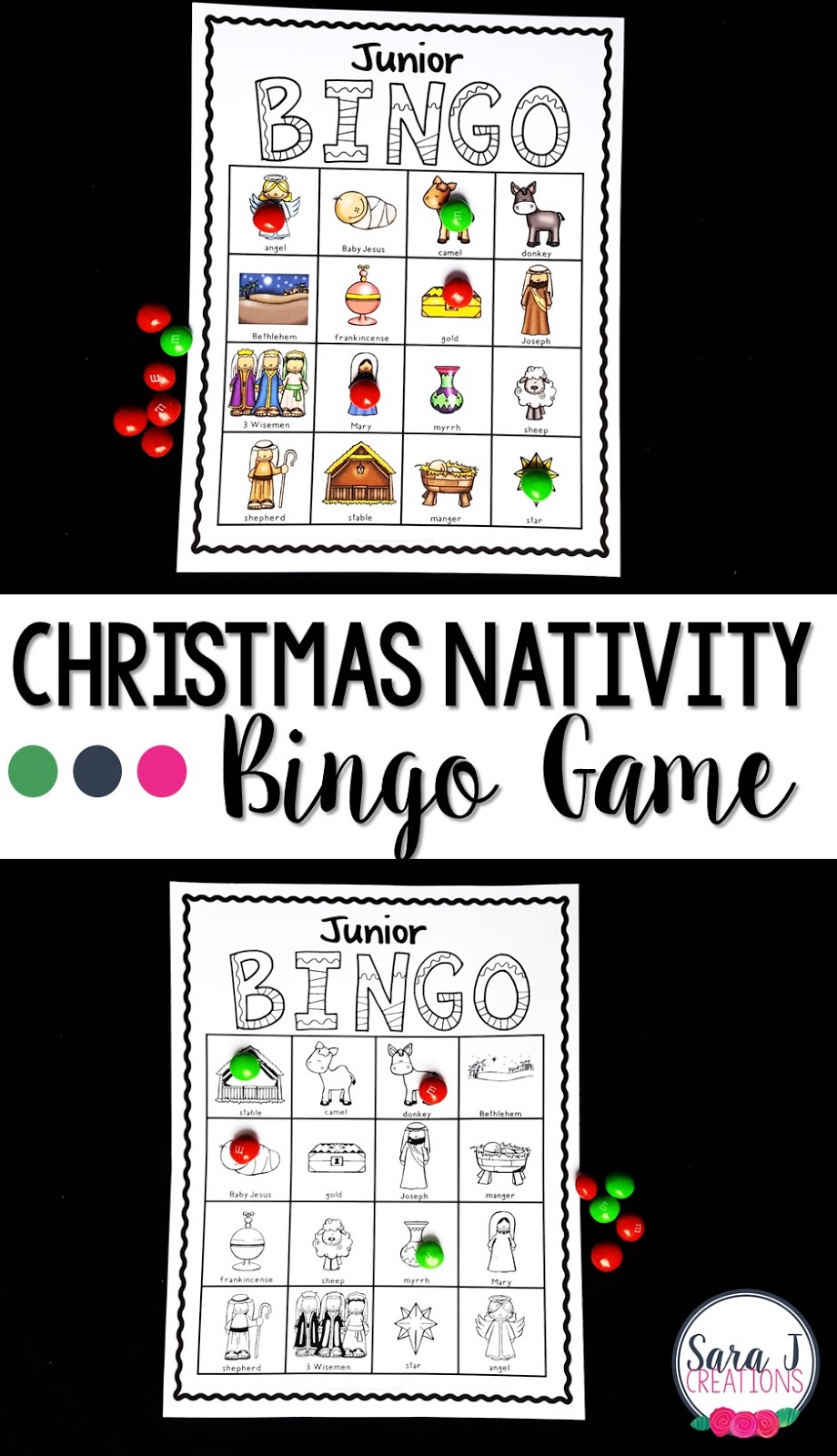 Christmas nativity bingo is the perfect game for children to play at parties, school and home leading up to Christmas day.  A great way to review the story of the birth of Jesus.
