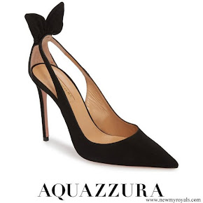 Meghan Markle wore Aquazzura Deneuve Bow Pointy Toe Pumps