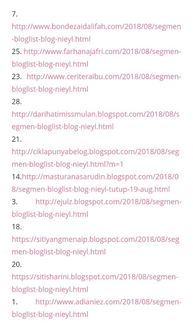 Menang Segmen Bloglist Ogos - Disember 2018 blog Nieyl.
