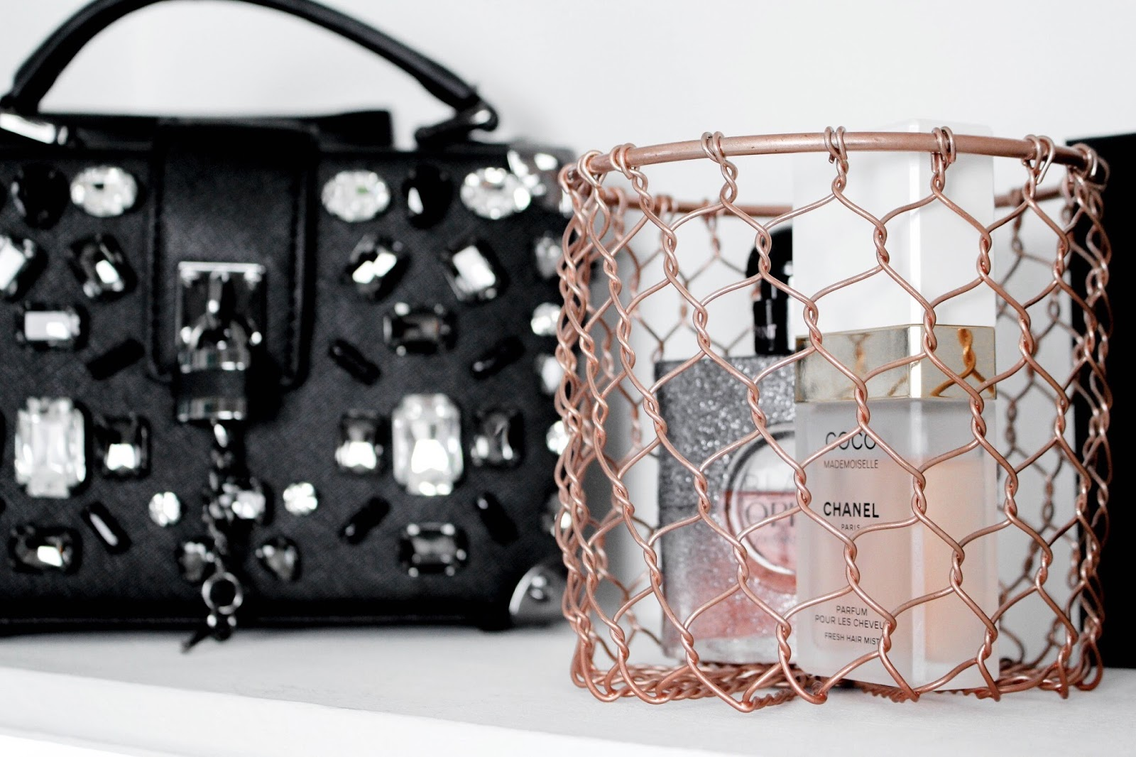 Copper Mesh Basket Perfume Display