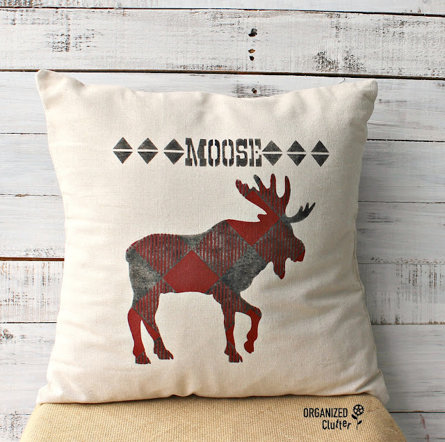 Stenciled Buffalo Check Moose Pillow #buffalocheck #stencil #oldsignstencil #pillowcover