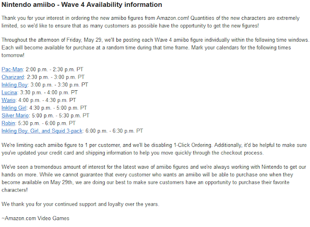 Amazon wave 4 amiibo announcement availability information one per customer
