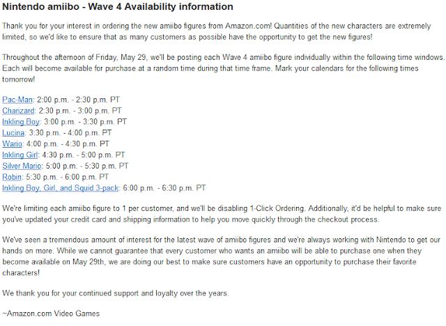 Amazon wave 4 amiibo announcement availability information one per customer