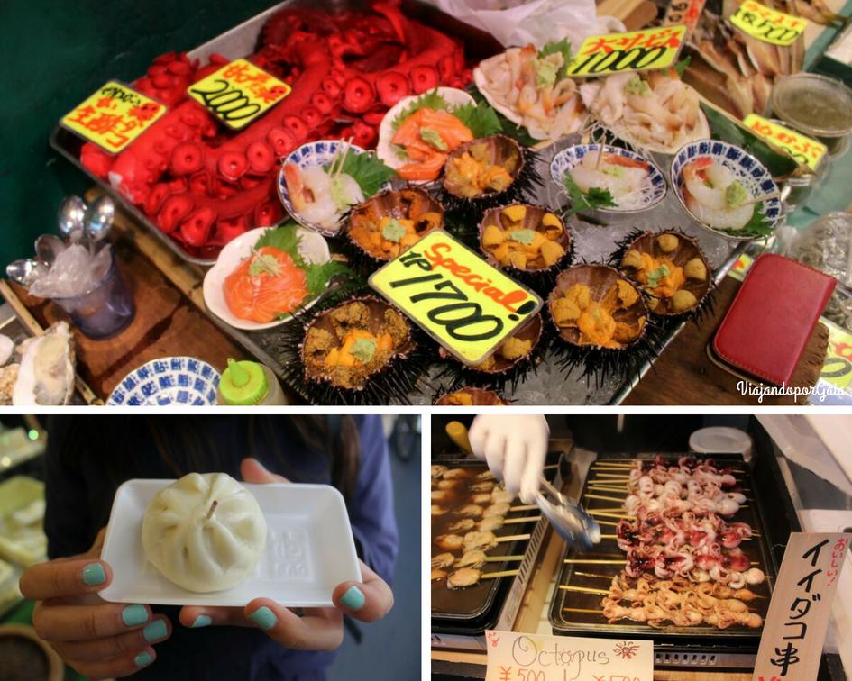 Algunos de los bocados que podrás probar en el mercado Tsukiji