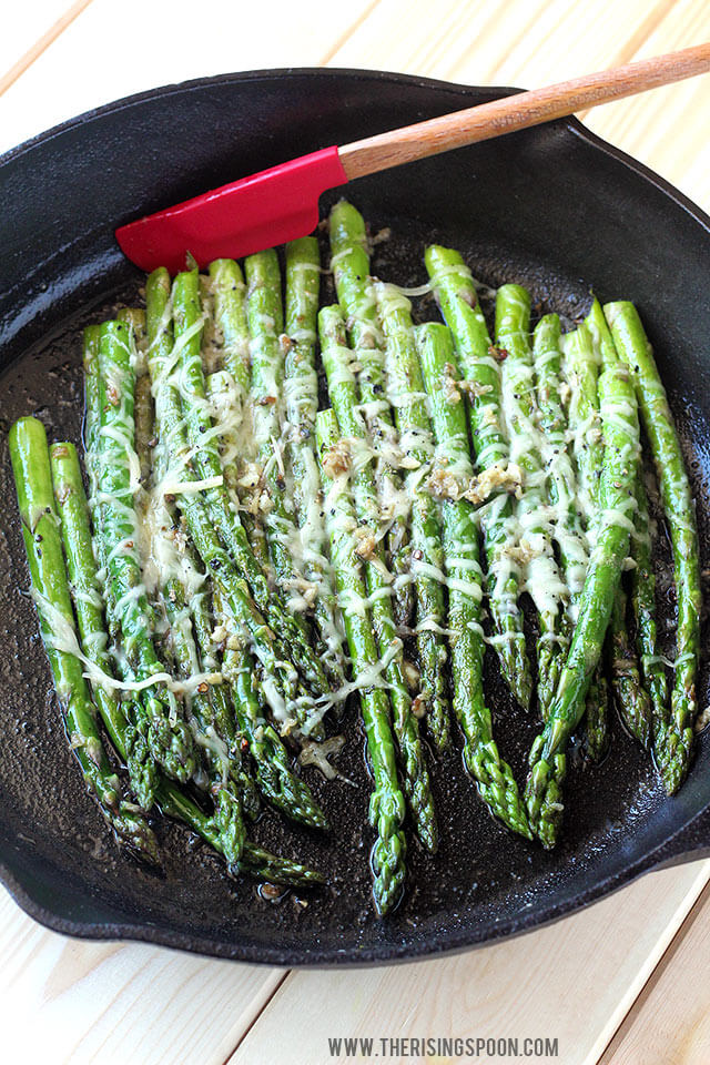 Sauteed Asparagus with Garlic, Butter & Parmesan