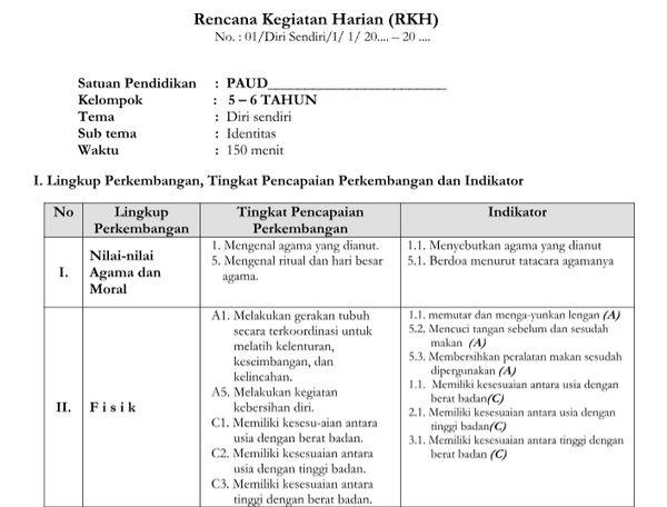 RKH Tema Diri Sendiri Kurikulum 2013 Revisi TK B