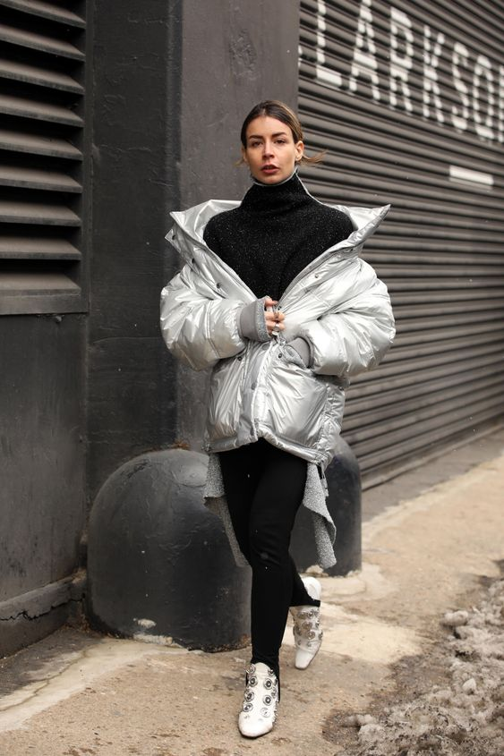 Irina Lakicevic Silver Padded Coat Street Style Fashion Week