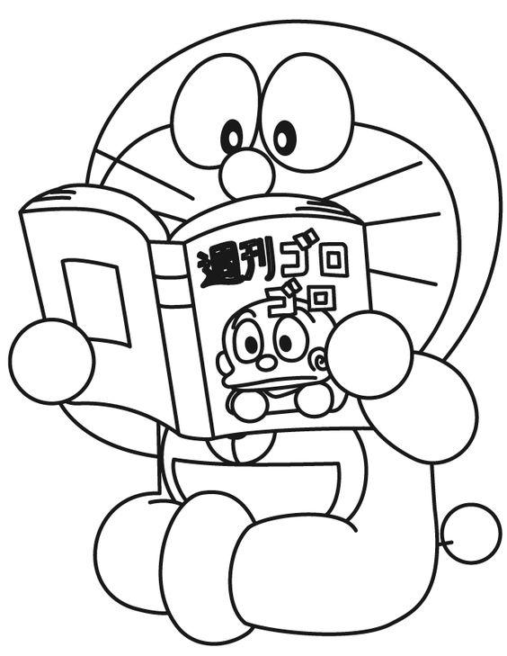 Tranh cho bé tô màu Doraemon đọc sách