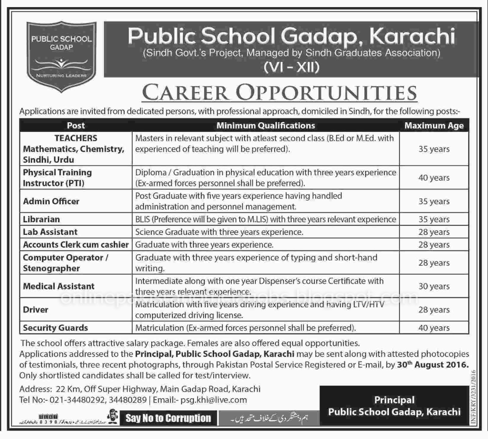 Public School Gadap Karachi Jobs Aug 2016