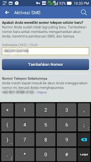 Tambahkan nomor di FB android