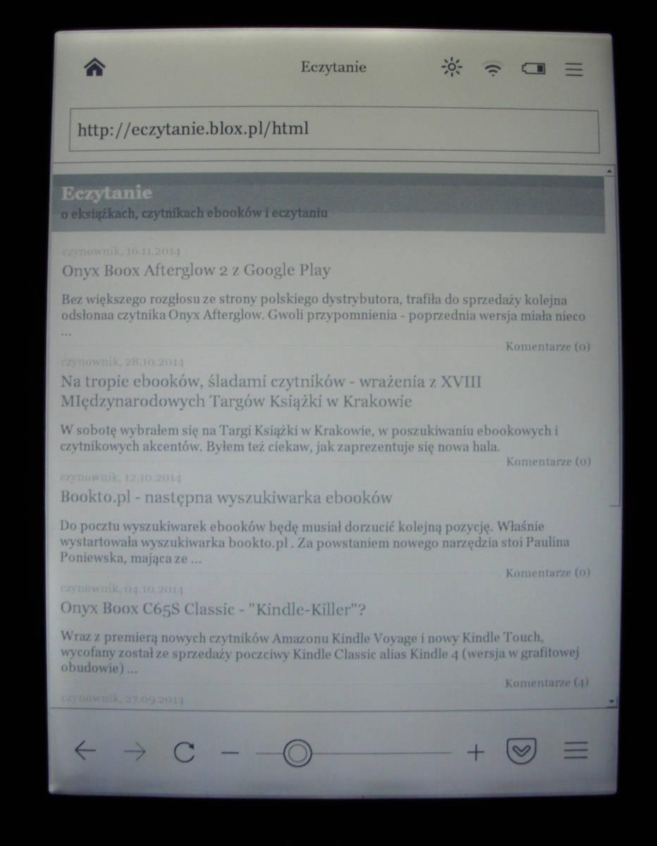 Kobo Glo - przeglądarka
