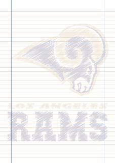 Papel Pautado Los Angeles Rams rabiscado PDF para imprimir na folha A4