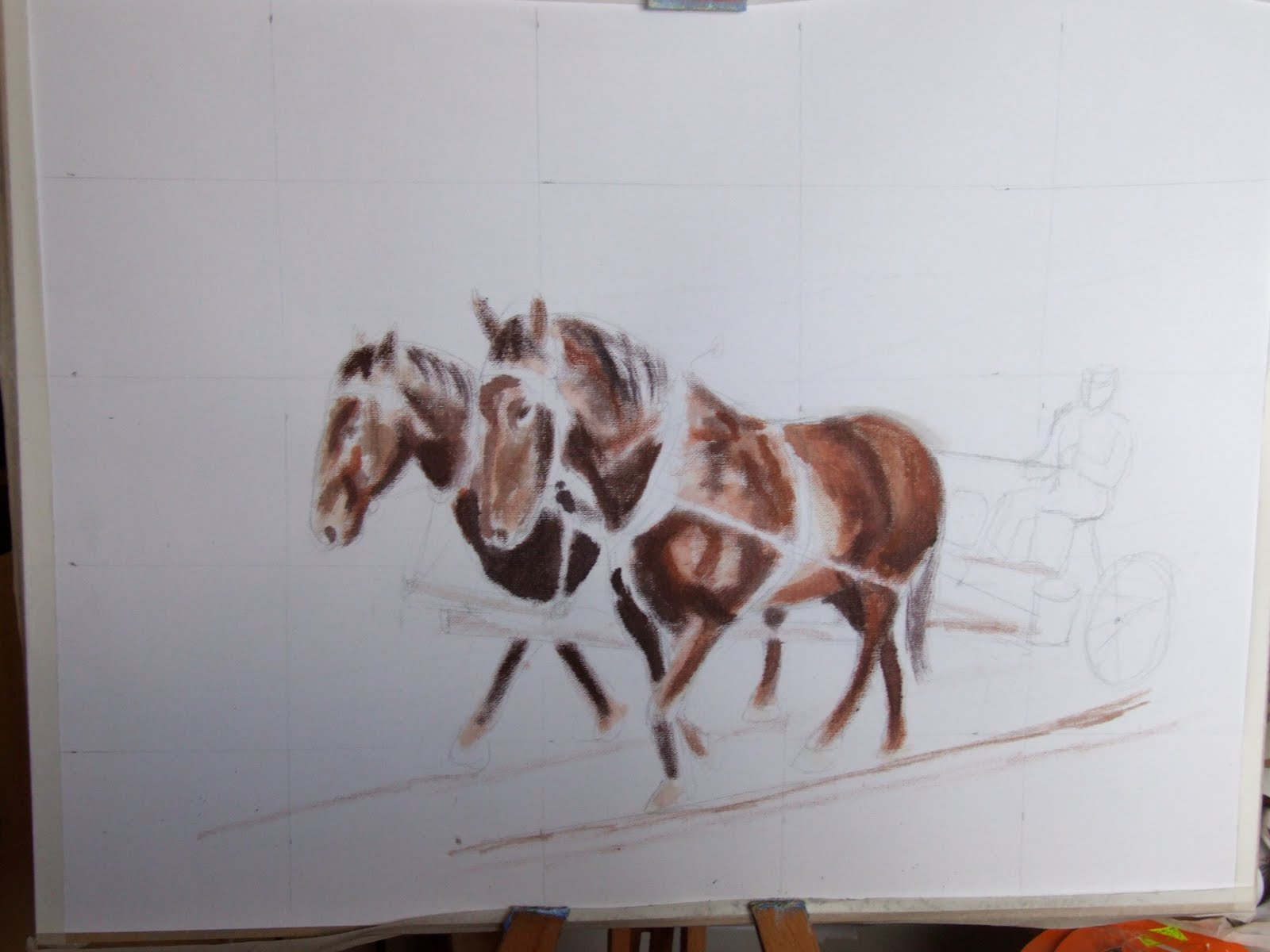 Plough horse oil painting step 3