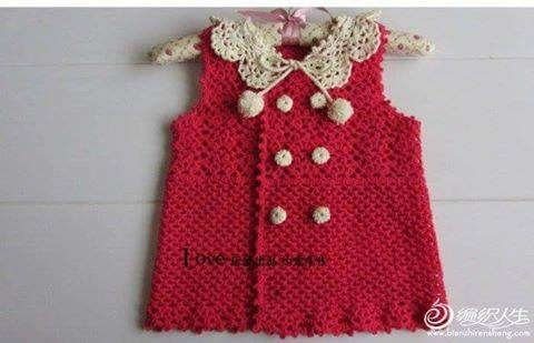 Patrón #1763: Vestido de Bebè a Crochet