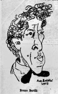 Bruno Barilli, in una caricatura di A. Baldini