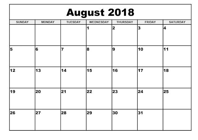 A4 August Printable calendar 2018
