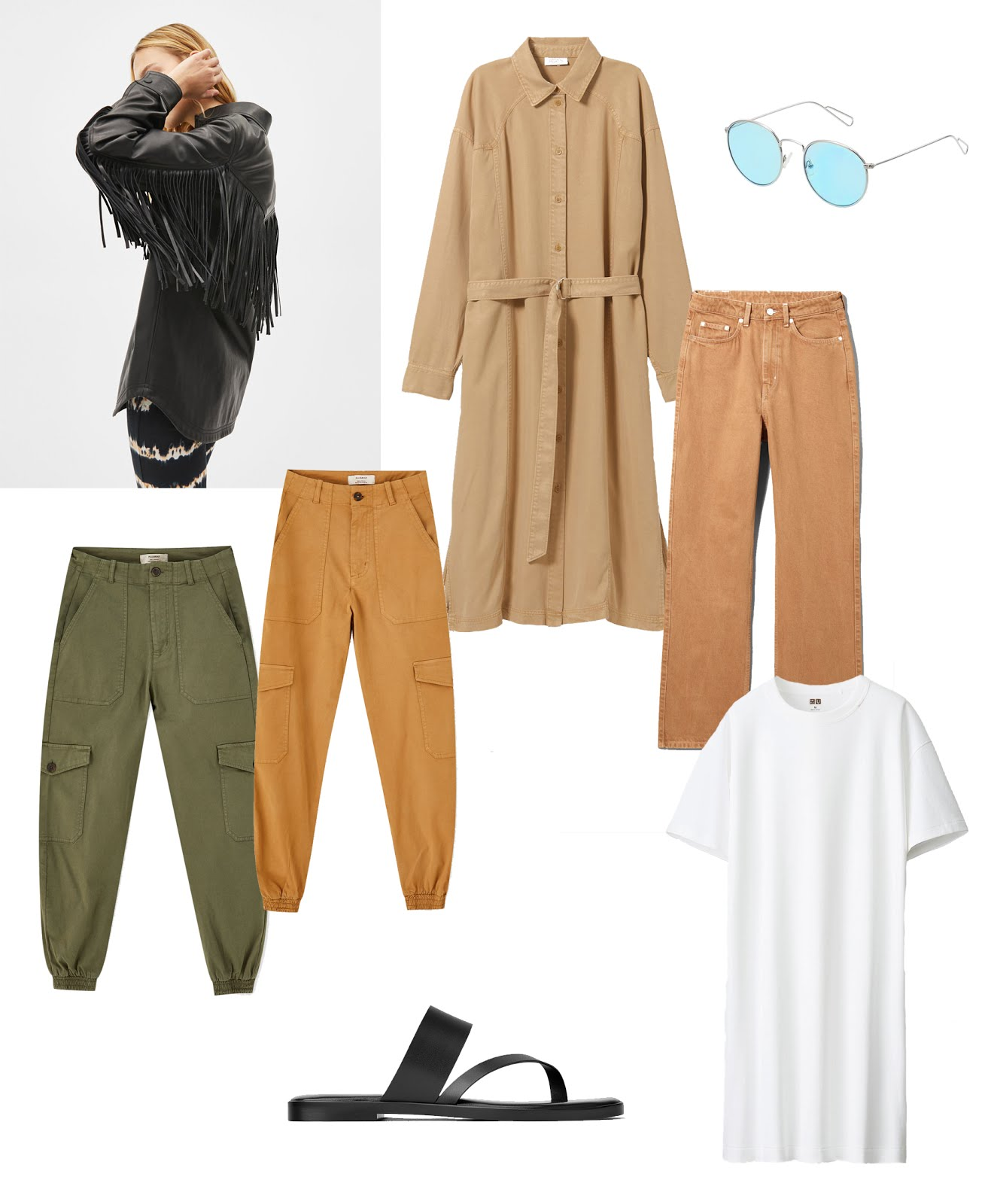 Bershka faux leather shirt, fringes, weekday long shirt dress, pull & bear cargo pants, weekday camel jeans, uniqlo t-shirt dress, zara minimal sandals, summer trends 2019