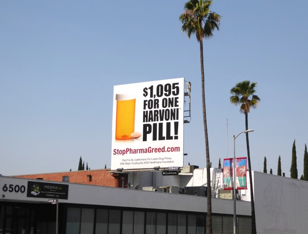 Stop Pharma greed $1,095 Harvoni pill billboard