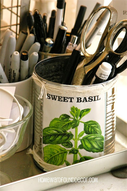 DIY trash to treasure tin can craft: make seed packet tin can pails