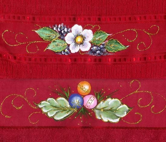 pintura em tecido toalhas