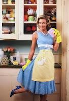 Ellerinde sarı eldivenleri ve önlüğüyle mutfaktaki bir ev hanımı