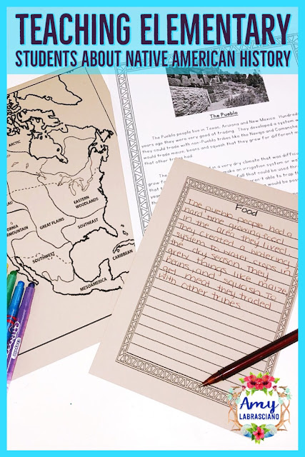 Click here to learn about teaching elementary students about Native American History.  You'll learn how to combine your Native American social studies unit together with reading and writing in order to fit everything into your year. Common core standards are included in the post to help you align your curriculum.  Perfect for 2nd grade and 3rd grade! {2nd, 3rd, homeschool} #nativeamerican #socialstudies