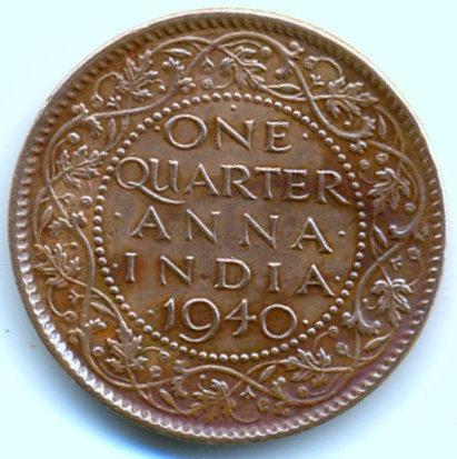 Coins Of India 1 Quarter Anna 1940