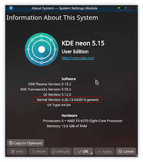 running the 'about system' application to get running kernel information