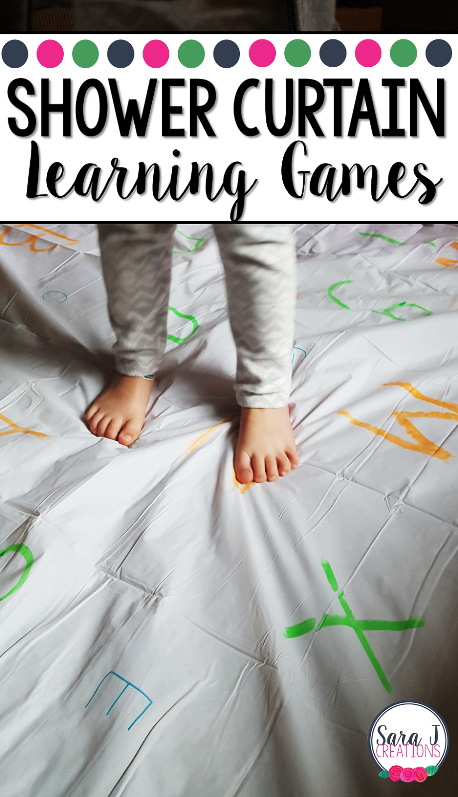 Create learning games on giant shower curtains with these easy directions and ideas. Perfect for ABCs, numbers, sight words, math problems and more.