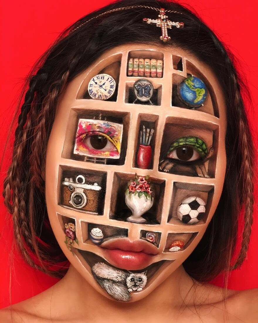 05-Bookcase-Mimi-Choi-Optical-Illusions-Body-Painting-Makeup-Effects-NO-Photoshop-www-designstack-co