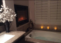 Forte Electric Fireplace installed in a bathroom.