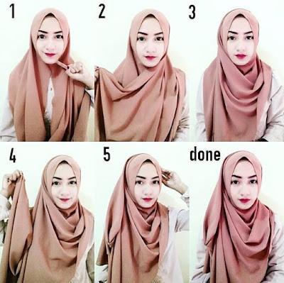 tutorial hijab wisuda segi empat satu warna