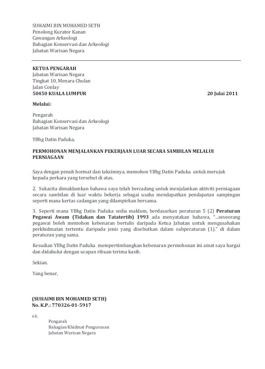 Contoh Surat Kebenaran Ketua Jabatan Pendaftaran Syarikat Bagi Kakitangan Awampng - Contoh Surat Rasmi Sokongan Ketua Kampung