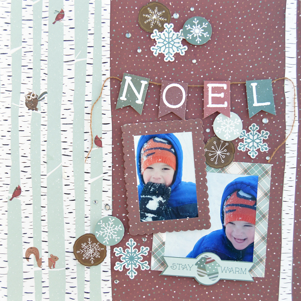 Hand Stitched Christmas Layout using Winter Meadows from Photo Play Paper