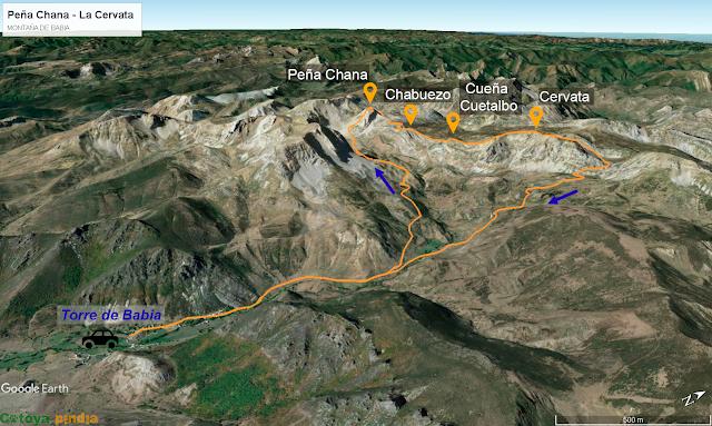 Mapa de la ruta a Peña Chana y La Cervata desde Torre de Babia