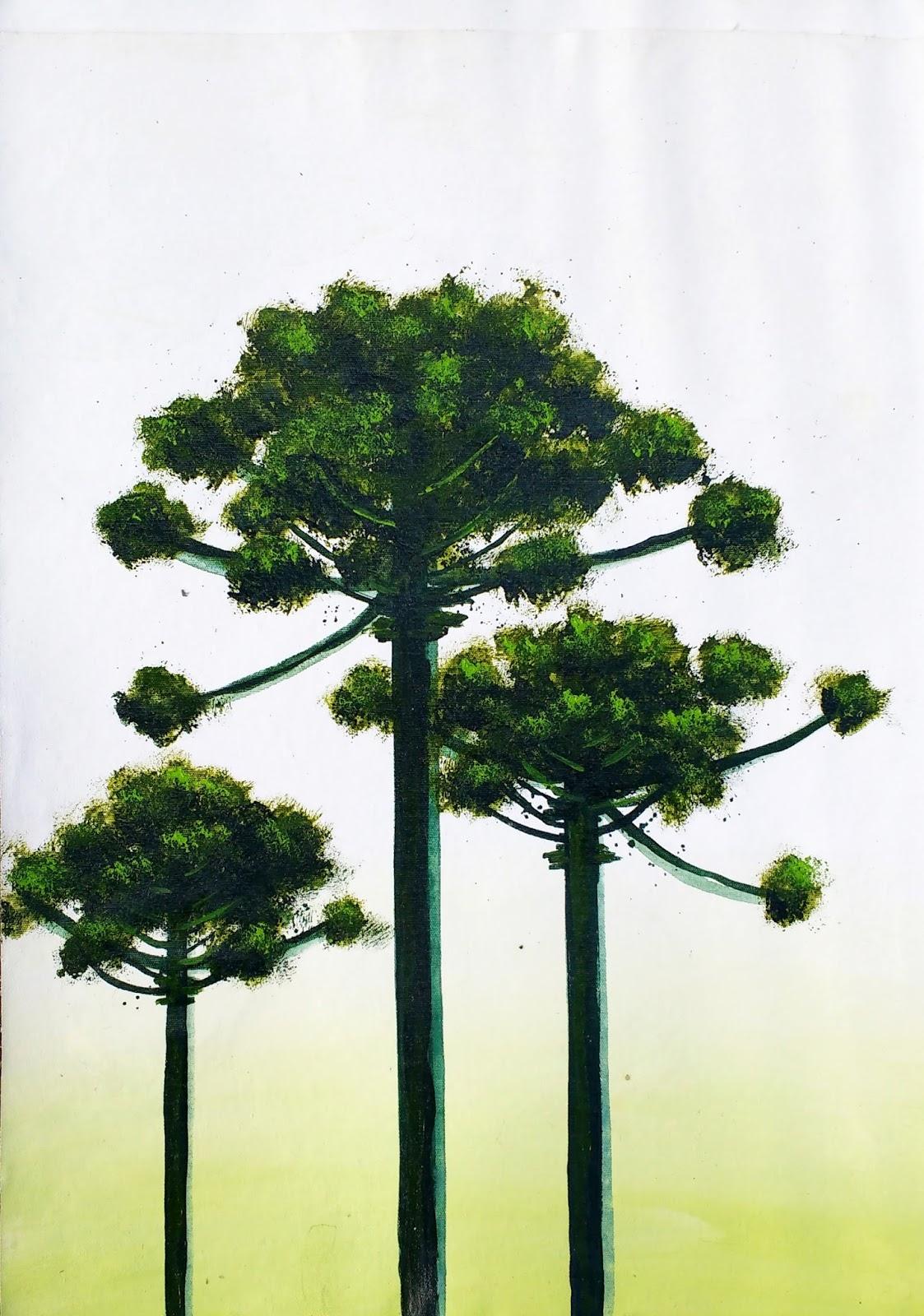 Araucaria III quadro em acrílico sobre tela com tema do Paraná