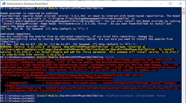 PnP-PowerShell  Module Install Error Authenticode Issuer Mismatch