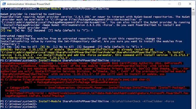 PnP-PowerShell  Module Install Error Authenticode Issuer Mismatch