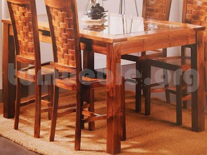 mesa comedor en teca y rattan natural 4162