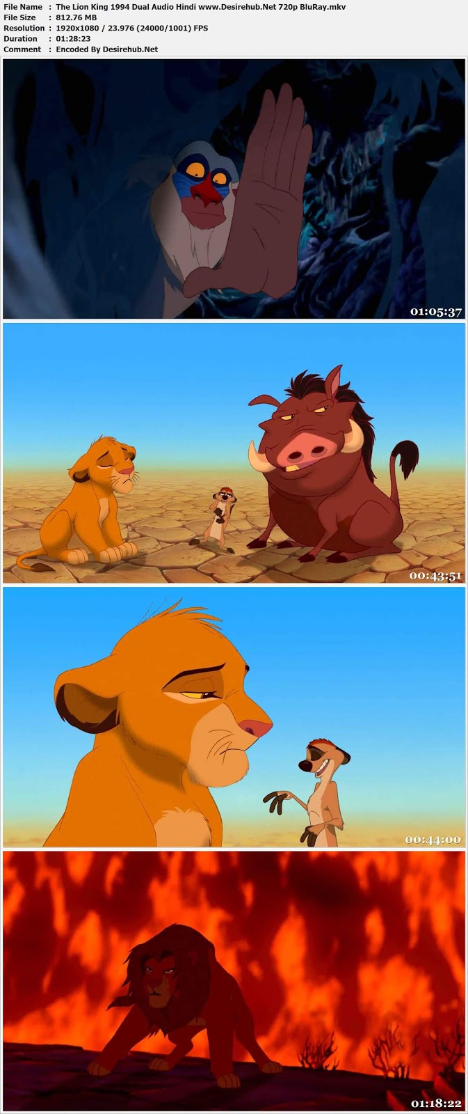 The Lion King 1994 Dual Audio Hindi 720p BluRay 800MB Desirehub