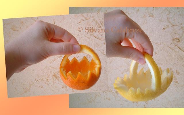 Decorazioni con i prodotti della natura:  Cestini arancia, cedro, limone