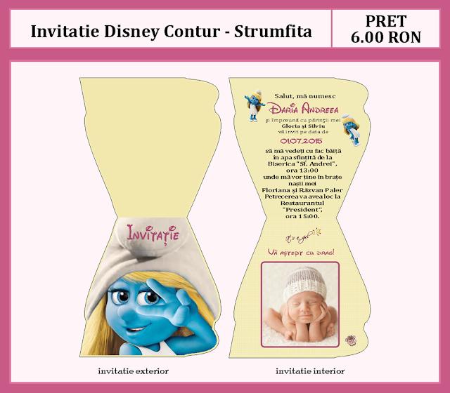 invitatii botez contur Strumfita