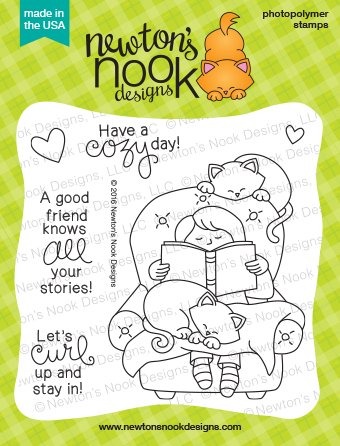 A Cozy Day In  4 x 4 | Cat and Books Stamp set | Newton's Nook Designs #newtonsnook