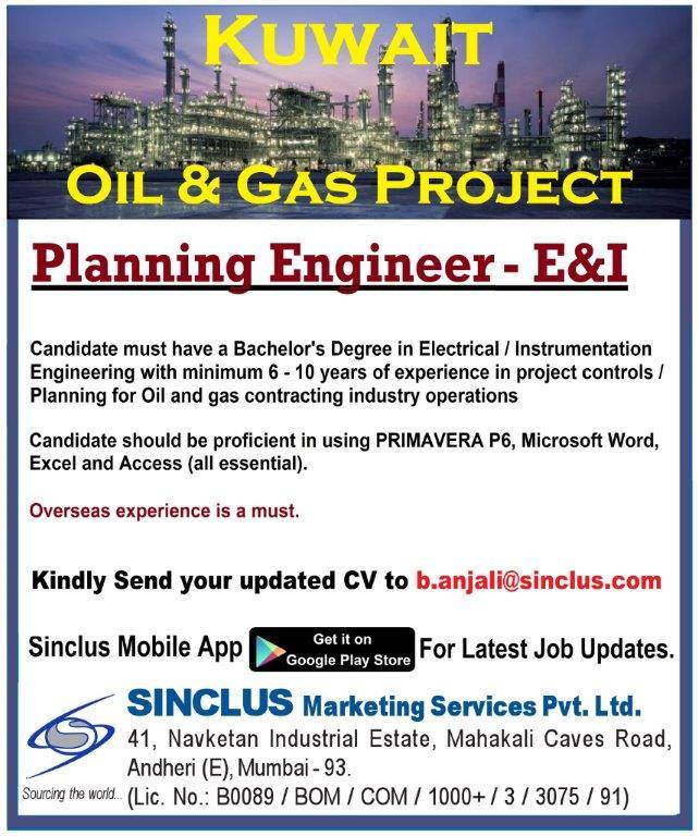 Planning Engineer for Oil & Gas in Kuwait