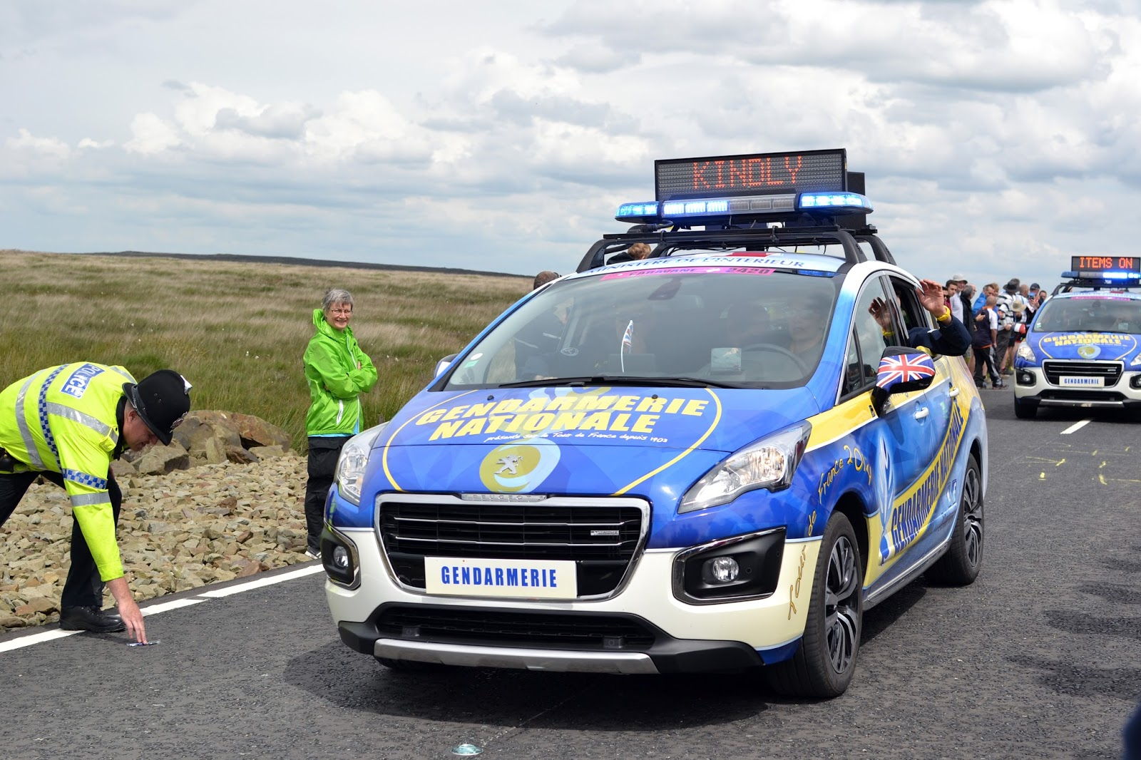 gendarmerie, caravan, le tour de france, le tour, the tour de france, team sky, peloton, yorkshire, lancashire, tour de yorkshire, blackstone edge, cycling, velo, littleborough, greater manchester, rochdale, cragg vale, north west, TDF, 2014, bikes, photography, sport, athletes, cyclists, uk, great Britain, united kingdom, france, french,