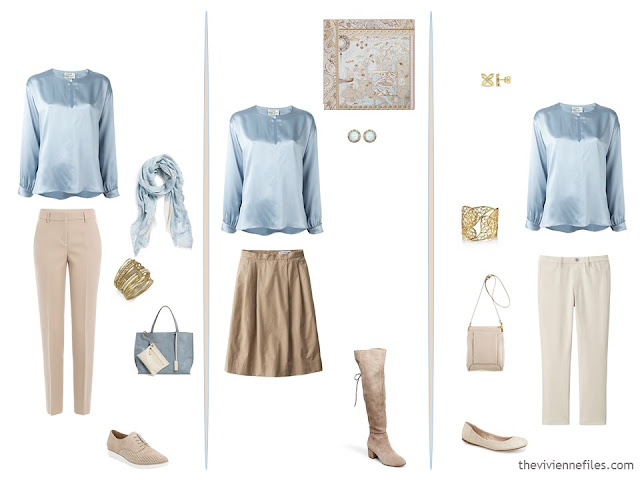 3 ways to wear a blue blouse, with beige