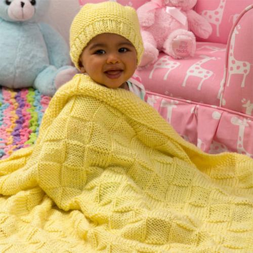 Baby Blocks Blanket and Hat Set - Free Pattern