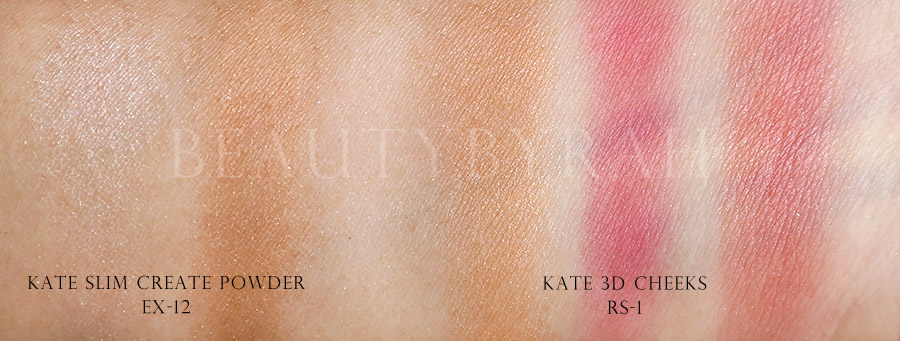 Kate 3D Cheeks and Slim Create Powder Review and Swatches
